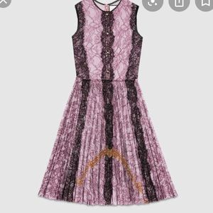 lavender and black lace dress with yellow
